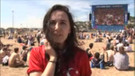 Marsilya plajında binlerce kişi millilerin maçını izledi