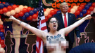 Madrid'de FEMEN'den Trump protestosu