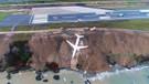 Trabzon'da pistten çıkan uçak denize doğru kayıyor