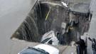Erzurum'da sel: Su bastı, yol çöktü, arabayı böyle yuttu