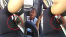 Otobüste ön koltukta oturan kadını taciz eden sapık kamerada