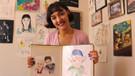 Sokak hayvanlarına mama karşılığında sulu boya portrelerini çiziyor