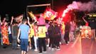 Galatasaray taraftarından FSM'de şampiyonluk kutlaması