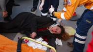 Taksim'de genç kadına otomobil çarptı
