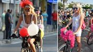 Süslü kadınlar bisiklet turuna büyük ilgi