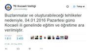 Valiliğin Twitter hesabını çalıp tatil ilan ettiler