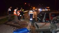 Hendek geçişinde karayolları ekibine otomobil çarptı: 5 yaralı
