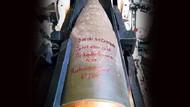 Obüs mermilerine yazılan şehit mesajı