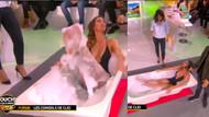 Clio Pajczer canlı yayında küvete girip köpük banyosu yaptı!