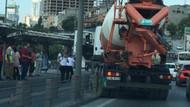 Metrobüs yoluna beton mikseri girdi