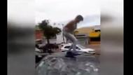 Aldatılan hamile kadın kocasının arabasını parçaladı!
