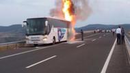 Yolcu otobüsü seyir halinde yandı