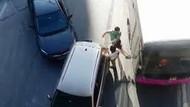 Çarptığı aracın kadın sürücüsüne kızdı, otobüse tekme attı!