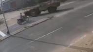 Motosikletli traktöre böyle çarptı
