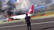 Son dakika... Yolcu uçağı acil iniş yaptı, alev alev yandı!