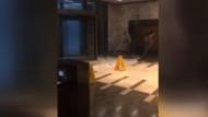 Fırtına plazanın kapılarını döndürdü, camlarını kırdı
