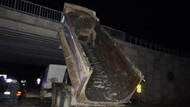 Damperi açık unutulan kamyon köprüye çarptı! 3 kişi yola savruldu