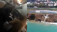 Uçak pistten çıktı, yolcular büyük panik yaşadı