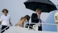 Uçağa şemsiyeyle girmeye çalışan Trump sosyal medyada alay konusu oldu