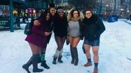 Çılgın Amerikalılar dondurucu soğukta iç çamaşırları ile gezdiler
