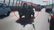 İstanbul trafiğinde uçaksavar taşıyan cipi görenler gözlerine inanamadı!