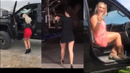 Mini etekli kadınlar yüksek kamyonetlere nasıl binmeli?