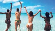 Hadid ve Jenner'in üstsüz deniz keyfi