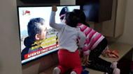 Babalarını televizyonda gören Asker çocuklarının sevinci