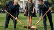 Trump ve Macron ağaç dikti