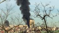 Taksim İlkyardım Hastanesi'nde çıkan yangından dehşet görüntüler