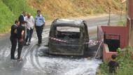 Ümraniye'de otomobil alev alev yandı
