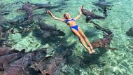 Instagram pozu verirken köpekbalığı kolunu ısırdı!
