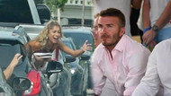David Beckham'ı görünce göğüslerini açtı!