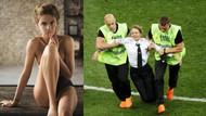 Dünya Kupası'nda sahaya giren kadın taraftar manken çıktı!