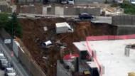 Son dakika: İstanbul Ümraniye'de istinat duvarı çöktü: Araçlar çukura düştü.. CANLI