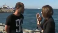 Yavru kediyi denize atarken muhabire yakalandı!
