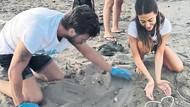 Kıvanç Tatlıtuğ ve Başak Dizer 64 yavru kaplumbağayı kurtardı