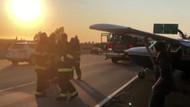 Havada arızalanan uçak otoyola acil iniş yaptı