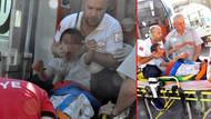 Bisiklet sürerken 5 metreden düşen çocuğun başına inşaat demiri saplandı