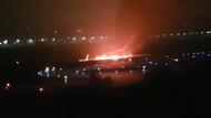 Rus uçağı pistten çıkarak yandı, THY geri döndü
