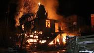 Ev alev alev yandı, itfaiye yolda kaldı