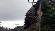 Antalya'daki heyelan anı kameraya yakalandı