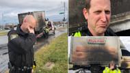 ABD'li polisler yanan donut kamyoneti için yasta