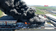 Hadımköy'de fabrikada yangın! Patlama sesleri duyuluyor
