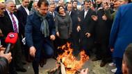 Ekrem İmamoğlu Halkalı'da Nevruz ateşinin üzerinden atladı