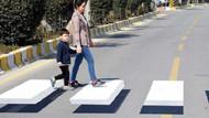 Aydın'da üç boyutlu yaya geçidi farkı