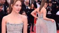 Meryem Uzerli'nin 72. Cannes Film Festivali'nde giydiği elbiseden poposu görününce ortalık karıştı