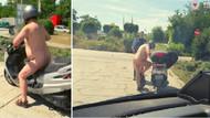 Alman polisinin durdurduğu çıplak moped sürücüsü: Çok sıcak değil mi?