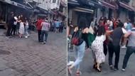 Taksim'de kadınlı ve erkekli iki grup arasında kavga! İşte o anlar...