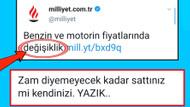 Milliyet'in akaryakıt zammı haberi sosyal medyayı salladı: Zam diyemediler